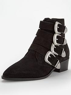 9bcc08f3c1f V by Very Florence Real Suede Western Buckle Strap Ankle Boot