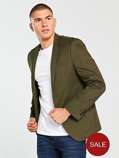 river-island-skinny-fit-cotton-blazer-khaki
