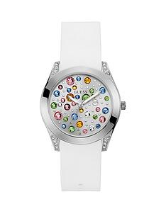 guess-guess-wonderlust-silver-and-coloured-stone-dial-with-white-leather-strap-ladies-watch