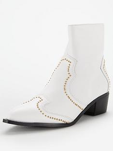 10f2df08846d V by Very Finland Pin Stud Ankle Boot - White