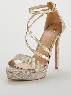 486e7e28d14 V by Very Bex High Platform Glitter Lurex Sandal - Silver Gold