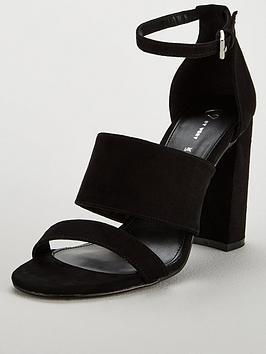6375f794cb9 V by Very Bess High Block Heel Three Strap Sandal - Black ...