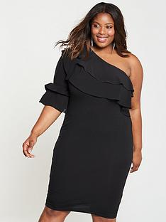 lost-ink-plus-lost-ink-plus-bodycon-dress-with-one-shoulder-ruffle