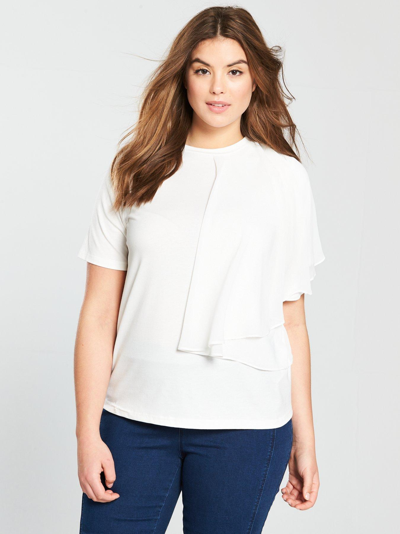 Lost Ink T-shirt With Dobby Flutter Sleeve - , Women
