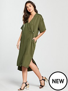 native-youth-wrap-front-dress-olive