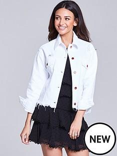michelle-keegan-distressed-denim-jacket-white