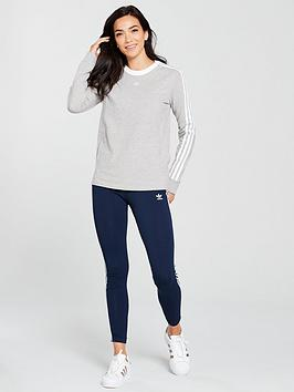 nbsp Heather  Top 3 Sleeve Stripes Medium adidas Originals Long Grey Cheap Sale Inexpensive Outlet Find Great Shop Online Clearance New AkFACQ5