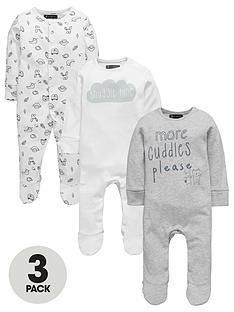 mini-v-by-very-baby-unisex-3pk-slogan-animal-sleepsuits