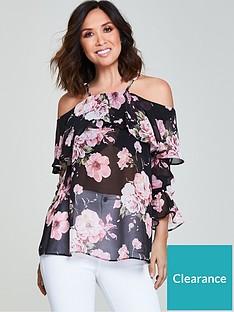 myleene-klass-floral-cold-shoulder-blouse