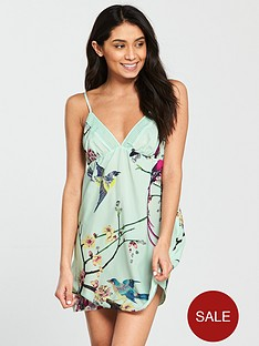 b-by-ted-baker-flight-of-the-orient-printed-chemise-green