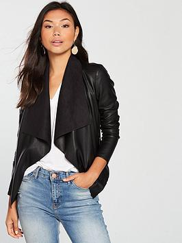 Waterfall V Jacket Very by Black PU  Cheap Pay With Paypal kSCu5AST9