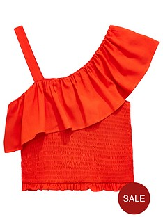 v-by-very-girls-red-off-the-shoulder-frill-top