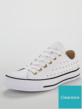 8ab08dde66da2f Converse Chuck Taylor All Star Leather Stud Ox - White ...