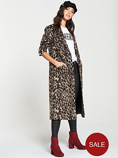 d7160aec72d V by Very Single Breasted Coat - Animal Print