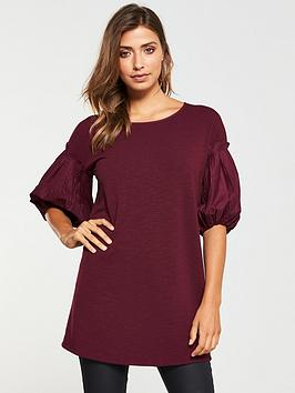 v-by-very-ruffle-puff-sleeve-top-wine