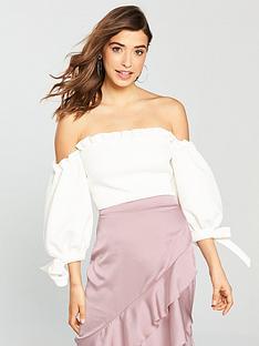 true-violet-bardot-balloon-sleeve-crop-top
