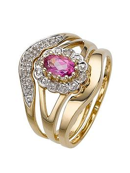 c0e19672b05d7 9 Carat Yellow Gold 5 Point Diamond and Amethyst Three Piece Bridal Set