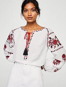 mango-embroidered-tassel-blouse-white