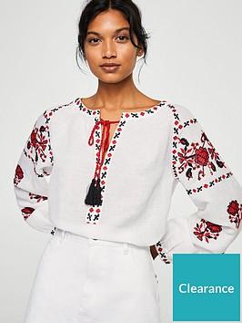 3666e664bd92ef Mango Embroidered Tassel Blouse - White