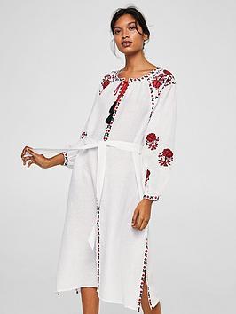 mango-embroidered-tassel-dress-white
