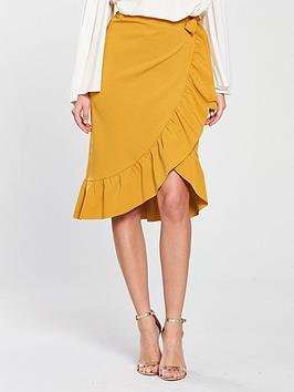 v-by-very-wrap-over-frill-midi-skirt-mustard
