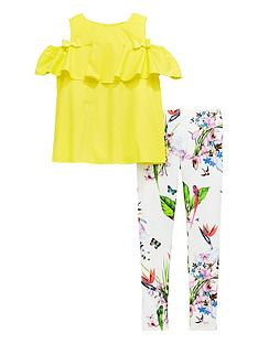 Baker by Ted Baker Girls Cold Shoulder Top and Legging Set - Yellow 3a1d3a917a43