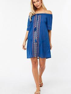 monsoon-dina-off-shoulder-beach-dress-cobalt