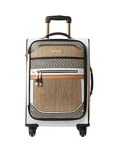 river-island-beige-woven-panel-four-wheel-suitcase