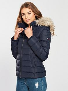 Tommy Jeans Essential Hooded Down Coat - Navy b7db3a03e9