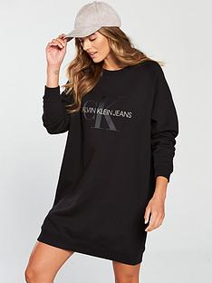 calvin-klein-jeans-monogram-sweat-dress-black