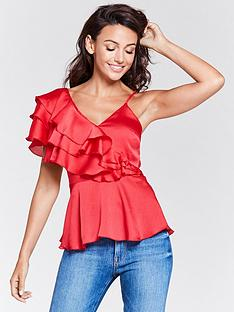 michelle-keegan-one-shoulder-frill-caminbsptop-red