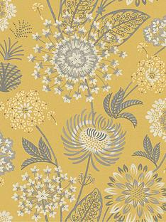 arthouse-vintage-bloom-wallpaper--nbspmustard-yellownbsp