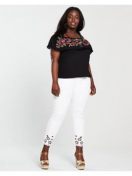 Cost Online Good Selling Cheap Price Black nbsp Embroidered Very Curve Bardot V Colour by  Top With Paypal Cheap Price Shop Offer Online 61wz2ju47