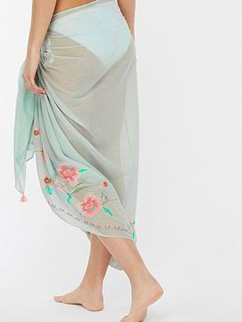 For Sale Online Shop From China Sarong Beachcomber Accessorize Embroidered  Mint Really Cheap Shoes Online EqCkHjU8w