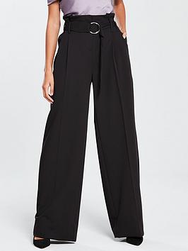 v-by-very-wide-leg-buckle-detail-trouser-black