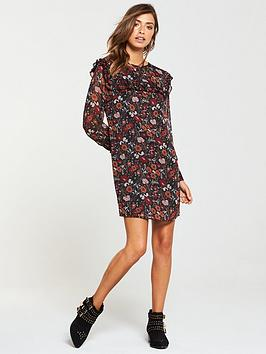 Tunic Floral  Yolk V by Frill Print And Very Sleeve Cheap Sale 2018 Cheap Sale Pick A Best Cheap R5JdcJl
