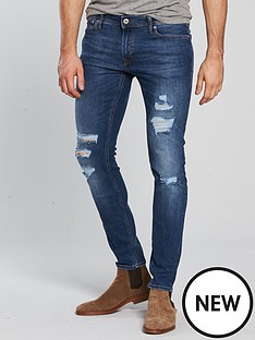 f21235de52ac Jack   Jones Jack   Jones Intelligence Skinny Fit Rip   Repair Jeans