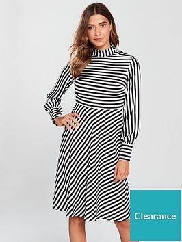 c51d4ddca633 V by Very Stripe Skater Dress - Monochrome