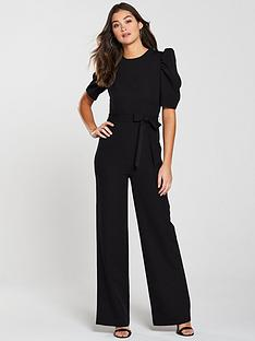 4deadc14392 V by Very Sleeve Detail Wide Leg Jumpsuit - Black