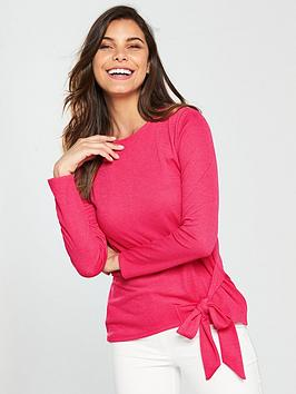 Tie Long Very by Sleeve Side Pink V Top Many Kinds Of Cheap Price Official Site Cheap Price Buy Cheap Clearance IxhT1V