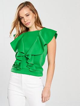 Crop by Ruffle V Front Very  Petite nbsp Green Cheap Sale With Mastercard Classic Buy Online Cheap Free Shipping Shop For New Lower Prices hnaxDzd
