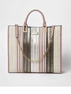 river-island-river-island-mixed-weave-chain-detail-tote--natural