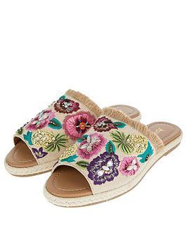 e4ff87a645117 Accessorize Ella Embroidered Slider Flat Sandal. View larger