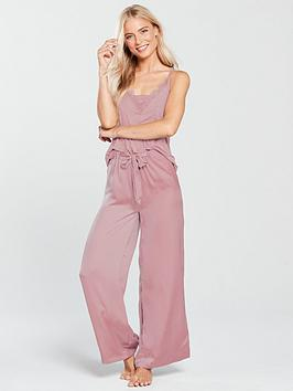 Sale Shop Discount Order V nbsp Trim Satin Satin and Pyjama Trouser Cami Pink by Set  Very 5u9jC