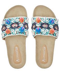 342e610ad3feb Accessorize Orlanda Pom Pom Footbed Flat Sandal
