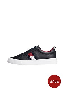 tommy-hilfiger-flag-detail-leather-trainer-midnight