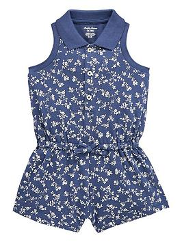0cbe097009 Ralph Lauren Baby Girls Floral Print Playsuit - Navy ...