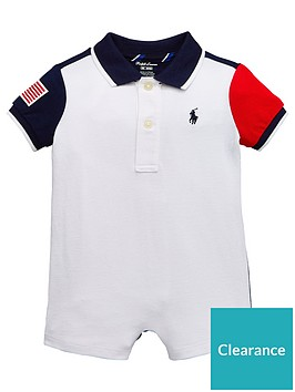 24c7c11a2ed5 Ralph Lauren Baby Boys Colourblock All In One Romper - White ...