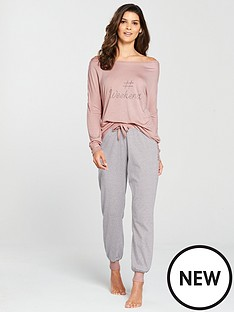 a107888e51 V by Very The Weekend Stripe Pyjama Set - Pink Grey