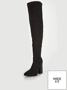 24c467d6ae9 Lost Ink Wide Fit Darcy Stretch Heeled Over The Knee Boot - Black